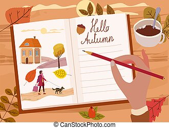 Woman young writing diary, letter, pencil, text Hello Autumn. Fall mood, cozy hygge atmosphere, mug coffe, tea, leaves, berrie rose hip, landscape. Vector illustration seasone poster, banner isolated
