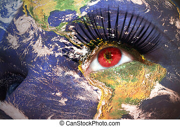 woman's face with planet Earth texture and montenegrin...