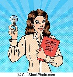 womanaffär, lätt, fästen, business., pop, idé, vektor, illustration, skapande, bulb., art.
