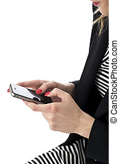 womanaffär, mobil, released., texting, ung, mobiltelefon, modell