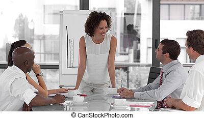 womanaffär, presentation, kvinnlig, ge sig