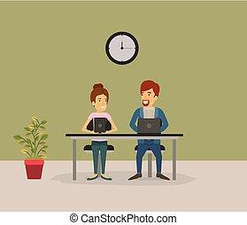 womanaffär, sittande, färg, par, folk, bakgrund, skrivbord, man