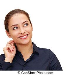 womanaffär, utrymme, tänkande, ansikte, hand, se, isolated., närbild, stående, avskrift