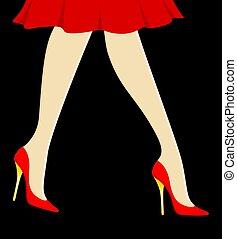 womanish, 足, 中に, ピンク, 靴