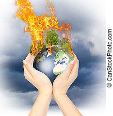 womanish, earth., vasthouden, burning, handen