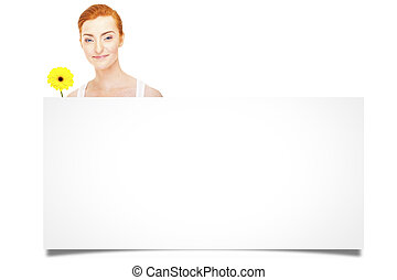 Womanl hold white blank paper. Young smiling woman show blank card. Girl portrait isolated on white background.