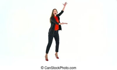 Womanl in the studio on a white background shows gestures. Copyspace for text