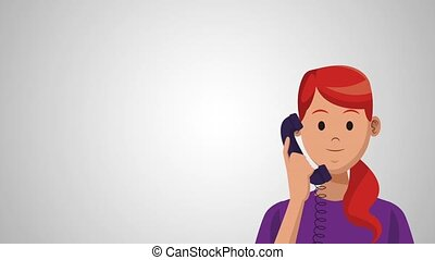 Womann calling from telephone HD animation - Womann calling...