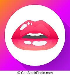 womans, ábra, ajkak, vektor, szexi, mouth., half-open, piros
