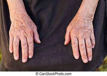 woman's, öregedő, kézbesít