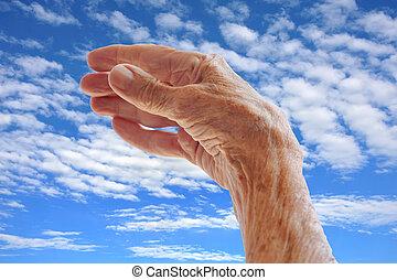 woman\'s, αρχαιότερος , ουρανόs , πάνω , χέρι