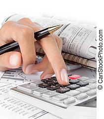woman's, руки, with, , калькулятор, and, ручка
