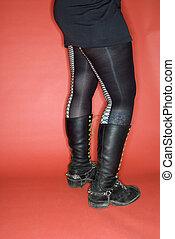 woman\'s, 다리, 와, boots.