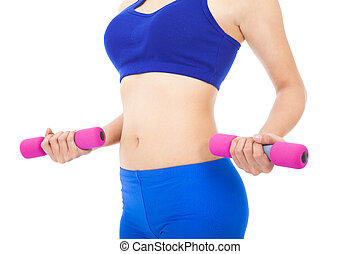 Woman's body part with fitness dumbell over white