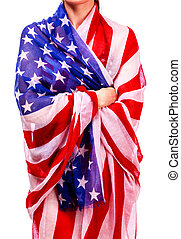 Woman's body wrapped in the USA national flag, isolated on white background