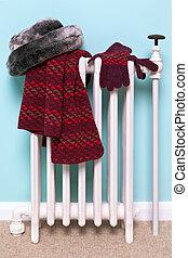 womans, chapéu, echarpe, e, luvas, secar, ligado, um, radiador