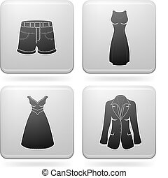 Woman's Clothing theme icons set covering all things from a ...