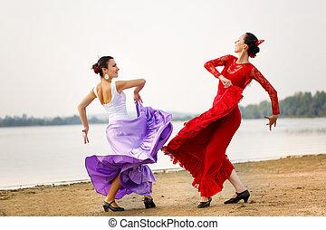womans dancer wearing red dress