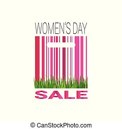 Womans Day Sale Sign With Bar Code Template Promotion Sticker Special Offer Tag