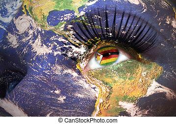 womans, dentro, struttura, faccia, pianeta, bandiera, zimbabwean, terra, eye.