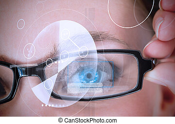 Womans eye with glasses being scanned for authorization