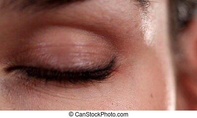 Woman's eye blinking video