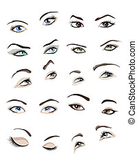 Woman's eyes set - Set of 10 beautiful glamour woman's eyes...