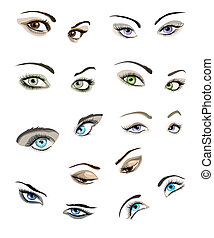 Woman's eyes set - Set of 9 beautiful glamour woman's eyes...