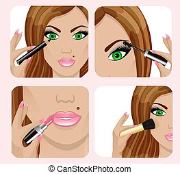 woman's face and applying makeup