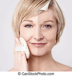 Woman's face before and after makeu