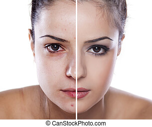 woman's face before and after makeup and photoshop editing