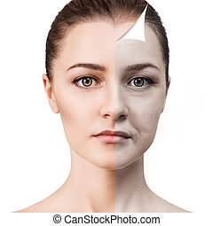 Woman's face before and after rejuvenation.