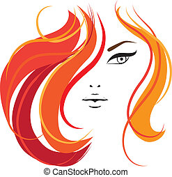 Womans face Template for your design - Womans face. Vector...