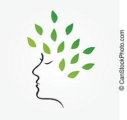 Womans face with green leaves