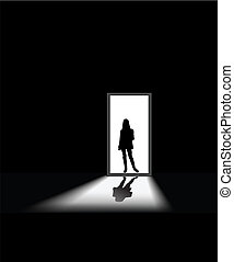 woman\'s fear - woman enters a dark room, to illustrate...