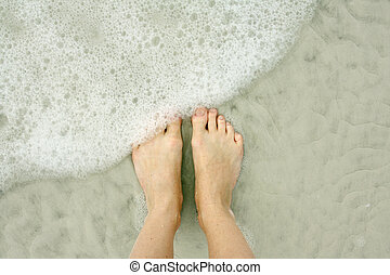 Woman's Feet in Ocean on Beach - close up portrait of a...