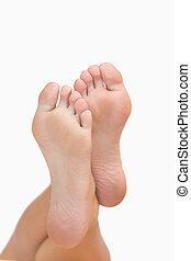 Woman's crossed feet