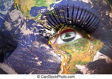 womans, figure, à, terre planète, texture, et, drapeau iraquien, intérieur, les, oeil