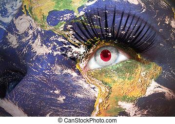 womans, figure, à, terre planète, texture, et, drapeau japonais, intérieur, les, oeil