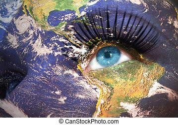 womans, figure, à, terre planète, texture, et, etats unis, de, drapeau micronésie, intérieur, les, eye.