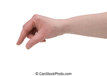 Woman's fingers pinching - Woman's hand pinching and showing...