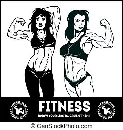 Womans fitness showing muscles - Female Fitness - Vector...