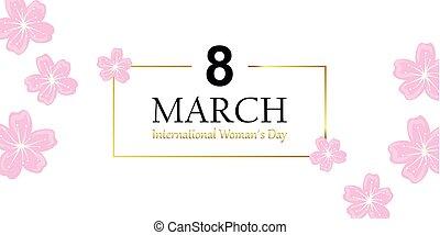 womans, giorno, 8, marzo, cartolina auguri, con, fiore ciliegia