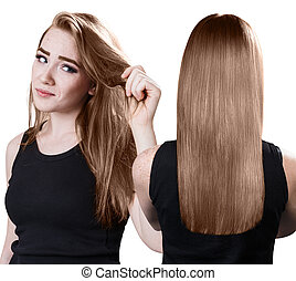 Woman's hair before and after treatment.