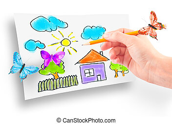 Woman's hand drawing the dream home
