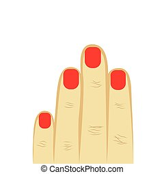 woman's hand four fingers with manicure. red manicure, short nails. gray background. vector illustration