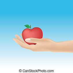 woman's hand giving apple