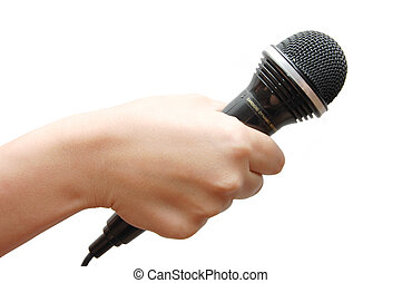 Woman\'s hand holding a microphone on white background -...