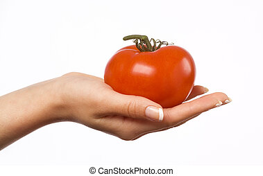 Woman's hand holding a red tomato