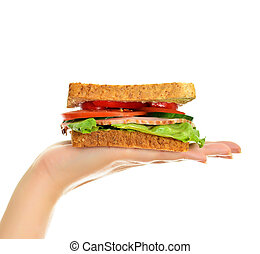 Woman's hand holding a sandwich, isolated on white